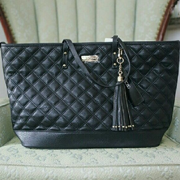 BCBG Paris Diamond Quilted Black Tote NWT | Tassels, 15. and Bottom : quilted black tote bag - Adamdwight.com
