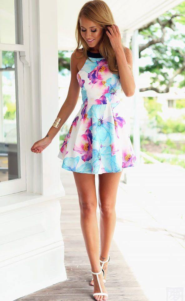 Foxy Gal Floral Halter Dress