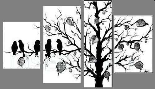 arboles japoneses cuadro blanco y negro