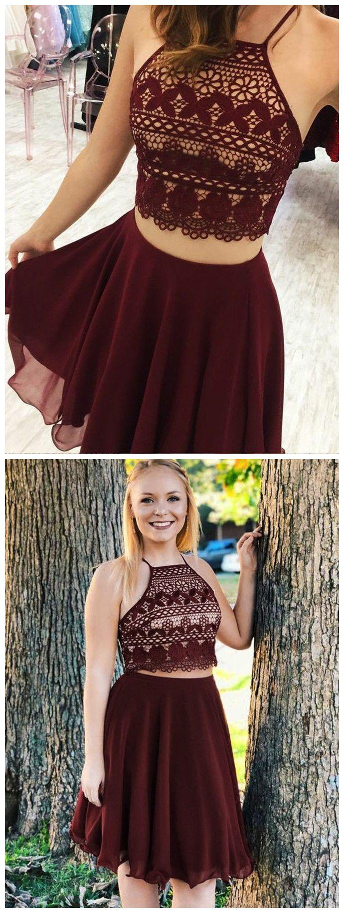 Two pieces aline spaghetti straps sleeveless burgundy short prom
