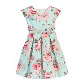 64888c258565 Sweet Kids Little Girls Mint Pink Floral Print Crossover Easter ...