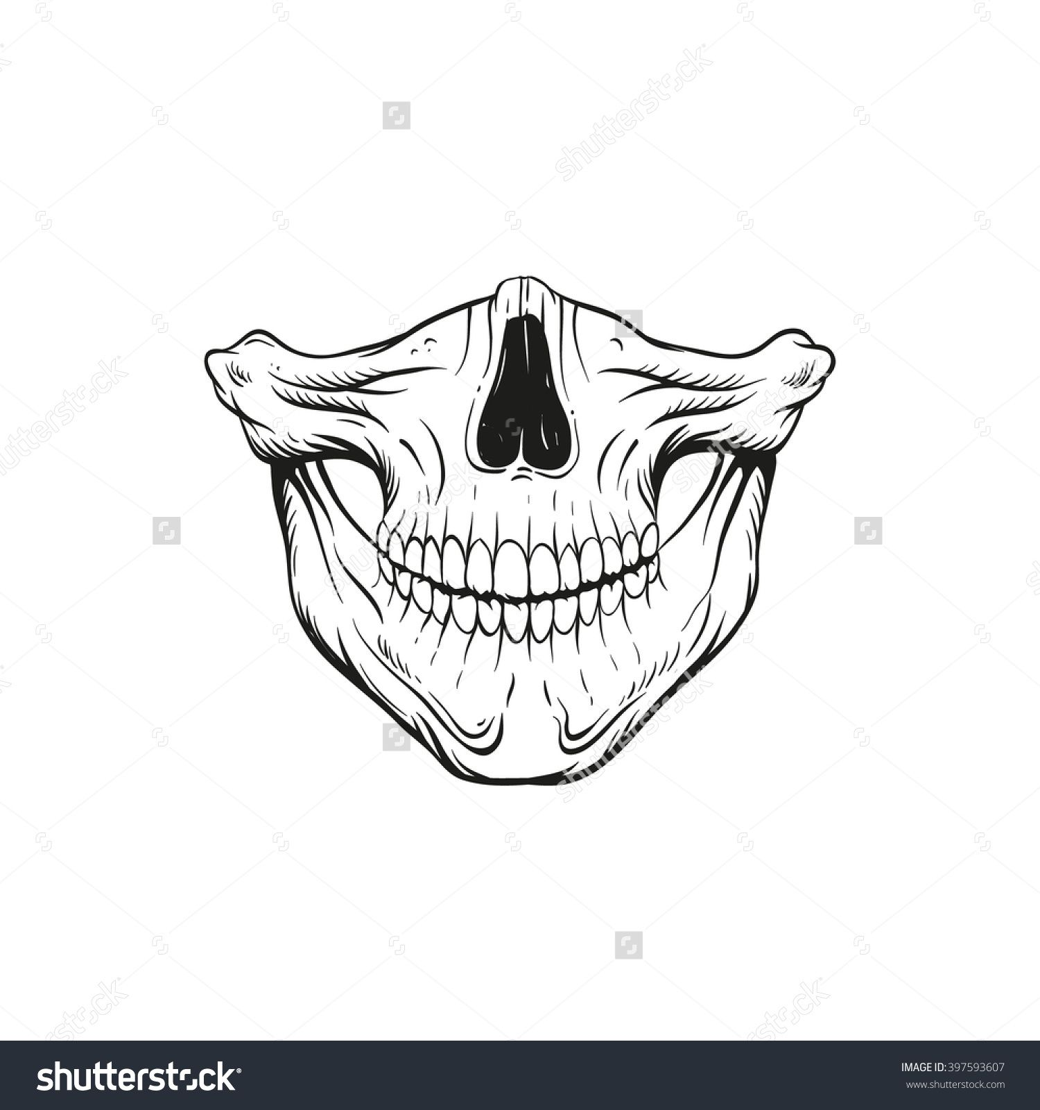 Skull Jaw Sketch Tattoo Design. Hand Drawn Vector