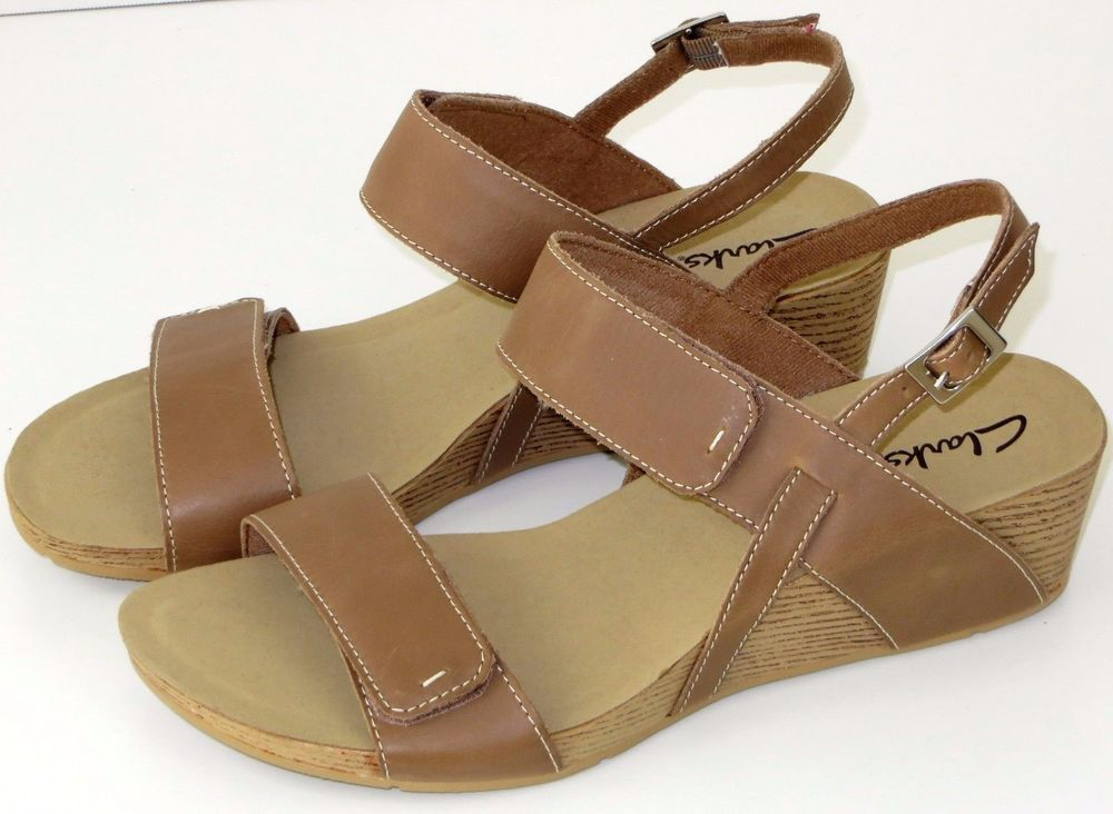 ef569847c349 Womens Clarks Alto Disco Leather Wedge Sandals Beige 11M  Clarks ...
