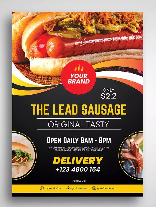 hot dog flyer template psd a4 download flyer template. Black Bedroom Furniture Sets. Home Design Ideas