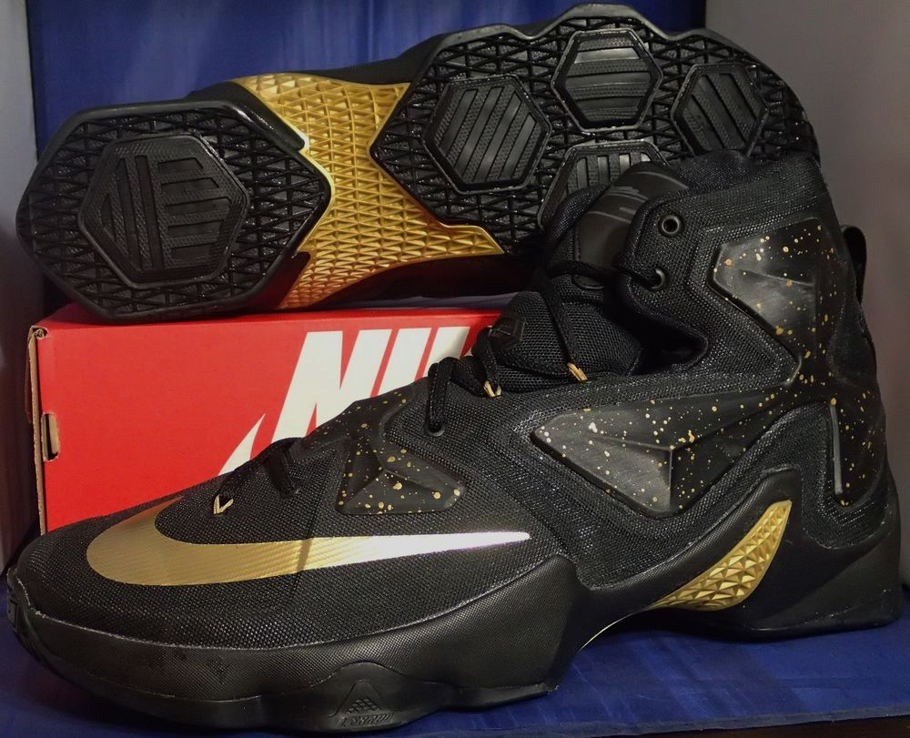 0d434345200 Nike Lebron XIII 13 iD Black Metallic Gold SZ 15 ( 836141-992 )  Nike   BasketballShoes