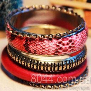 Набор металлический жестких браслетов - Змея бордового цвета (5 штук)