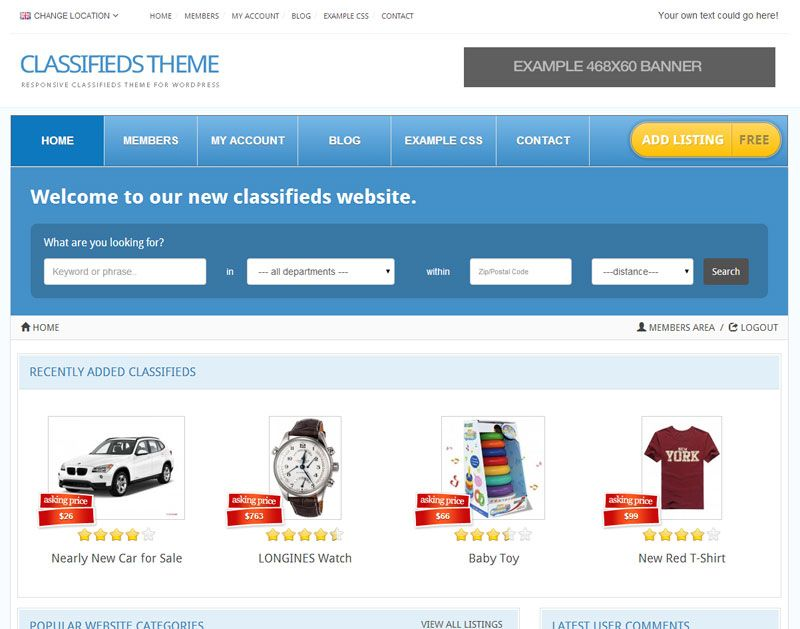 Easy To Use & Setup, HTML5 Responsive Design & SEO Classifieds theme ...