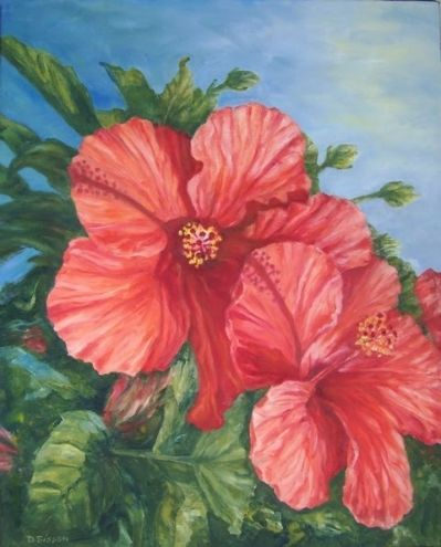 Red Hibiscus Oil Tropical Hibiscus Flower Garden Landscape Original Art Painting By Debra Sisson Dailypainters Com Hibiscus Flowers Painting Hibiscus