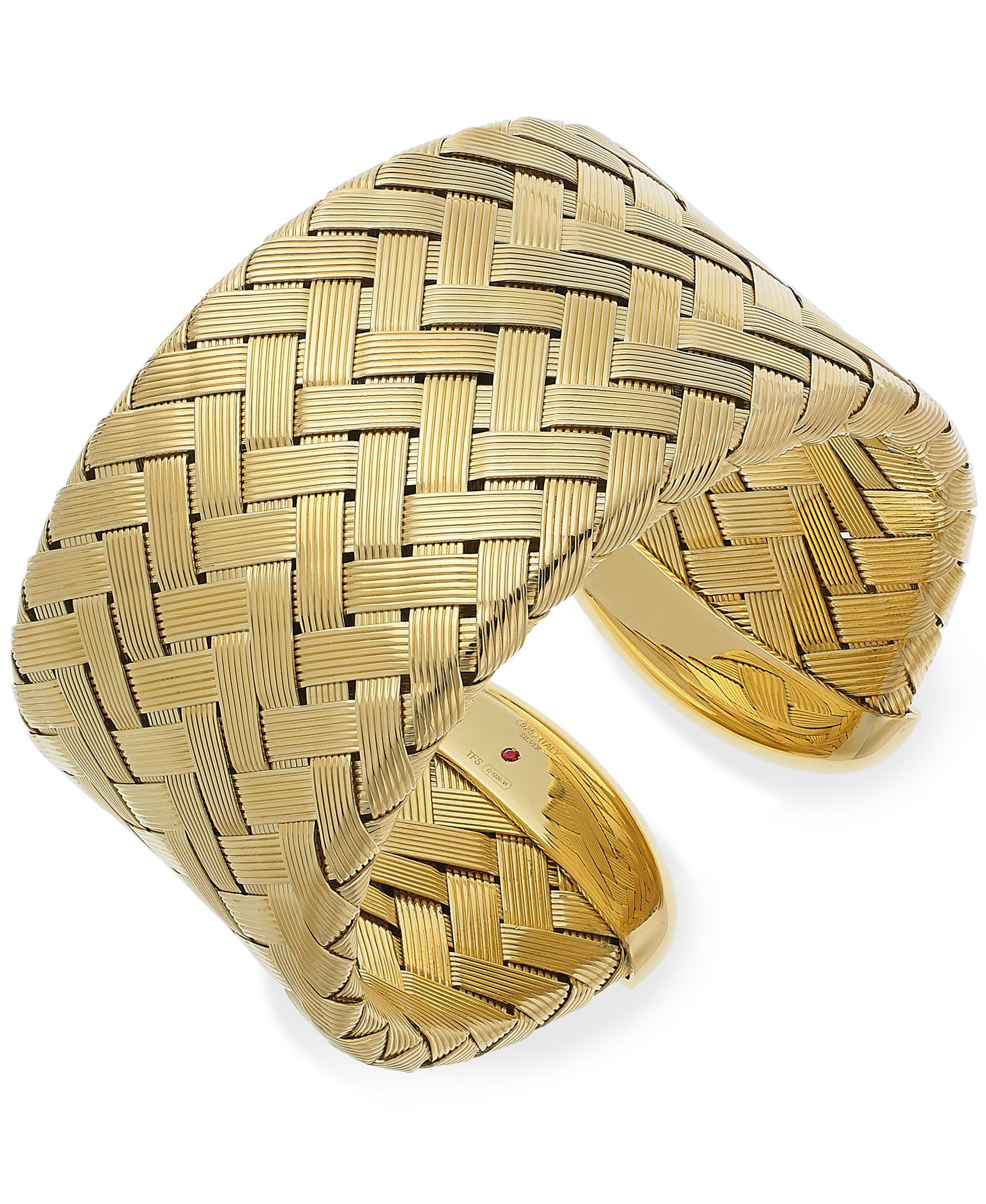 The Fifth Season by Roberto Coin 18k Gold over Sterling Silver Bracelet, Extra Large Woven Cuff