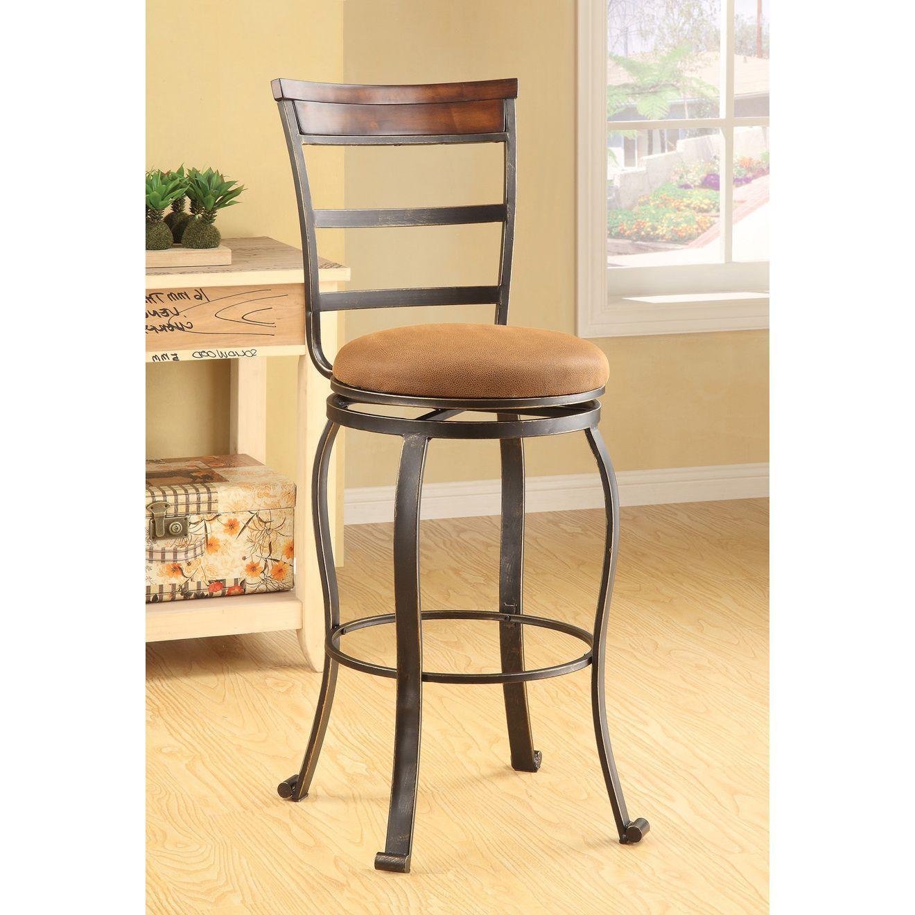 Swivel beige bar chair set of kd bar stool brown metal