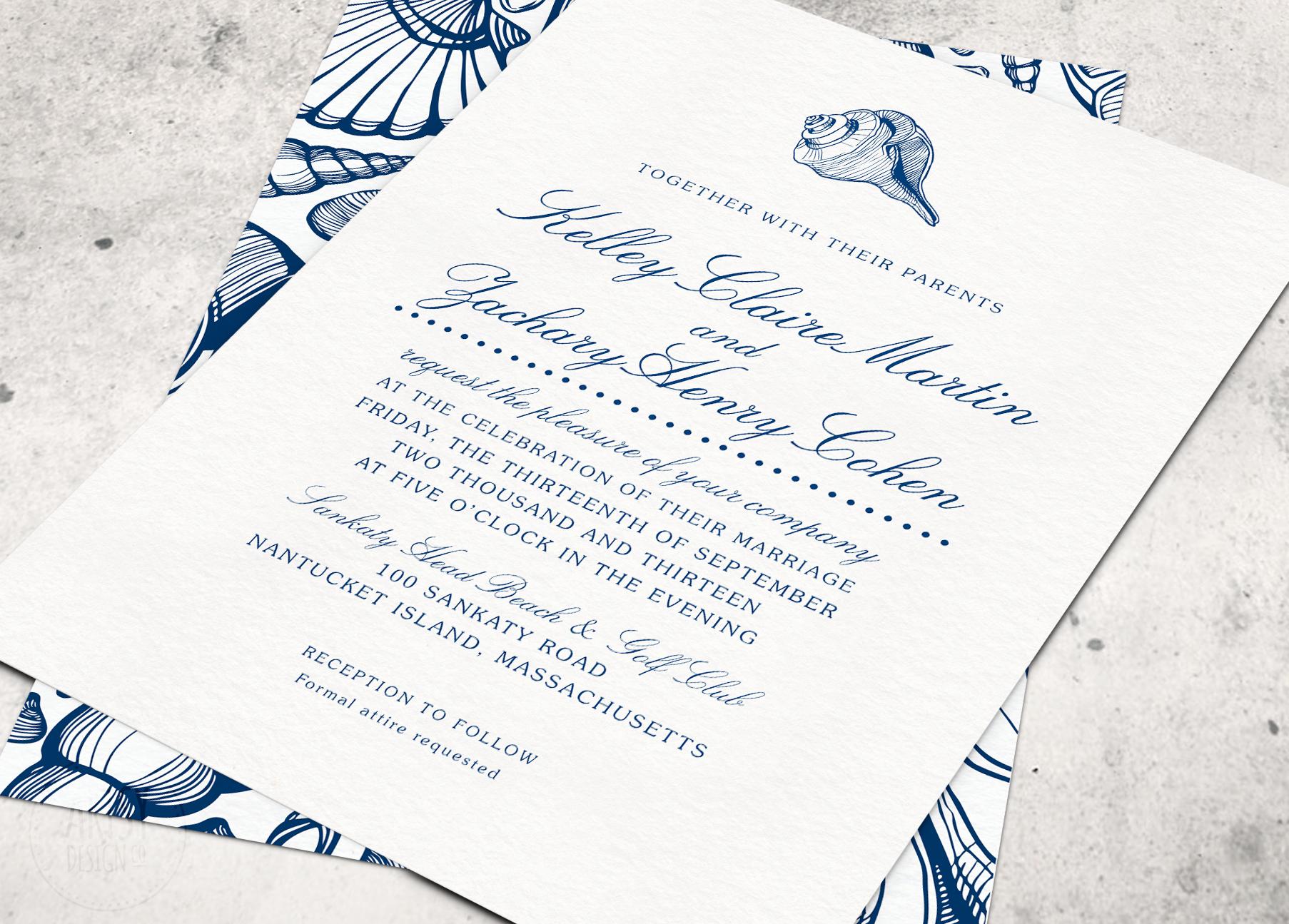 Beach Wedding Invitations in Navy by ArtsyDesignCo. | Wedding ...