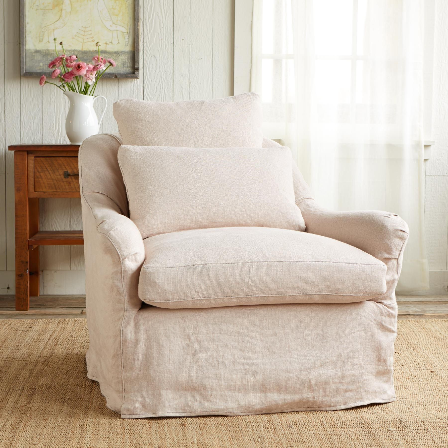 NOB HILL SLIPCOVER CHAIR -- Sink-into-softness and a sophisticated palette  of 99be4ea276