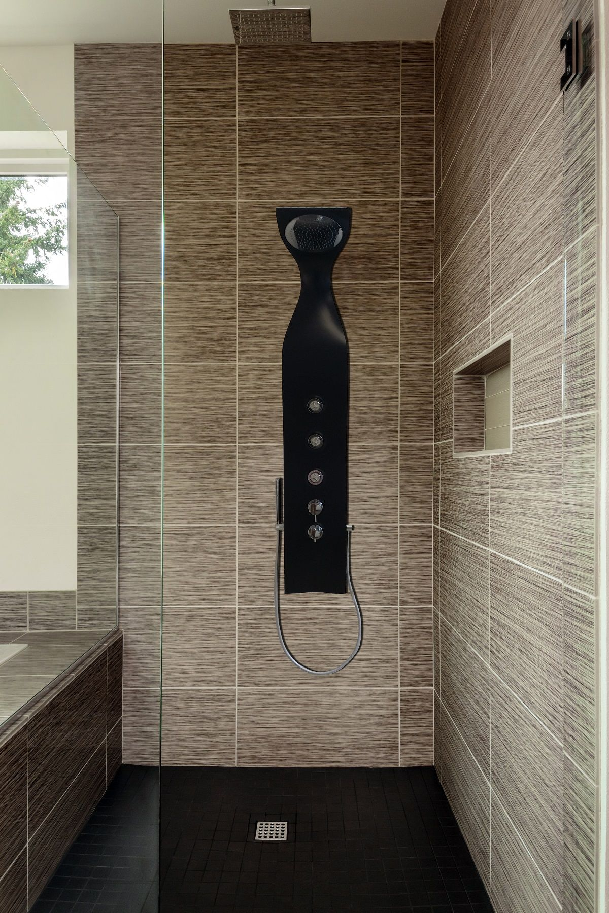 Aquatica Elise Wall Mounted Solid Surface Shower Panel In Black Matte Shower Panels Bathroom Shower Panels Shower Systems