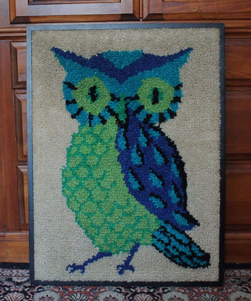 Large vintage completed latch hook owl wall hanging framed blue