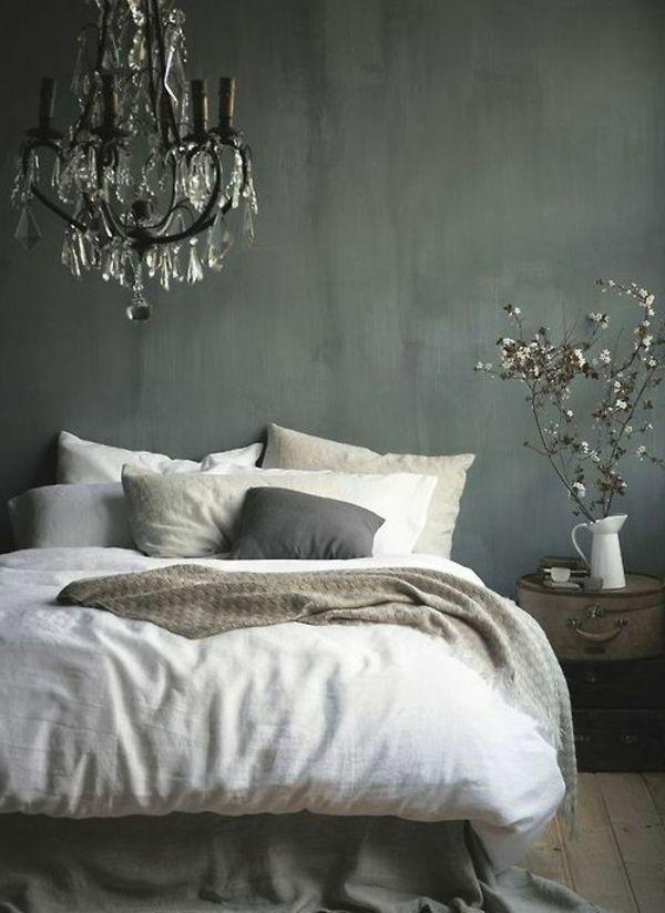 schlafzimmer graue wndgestaltung weiße bettwäsche Love it - schlafzimmer weiß grau