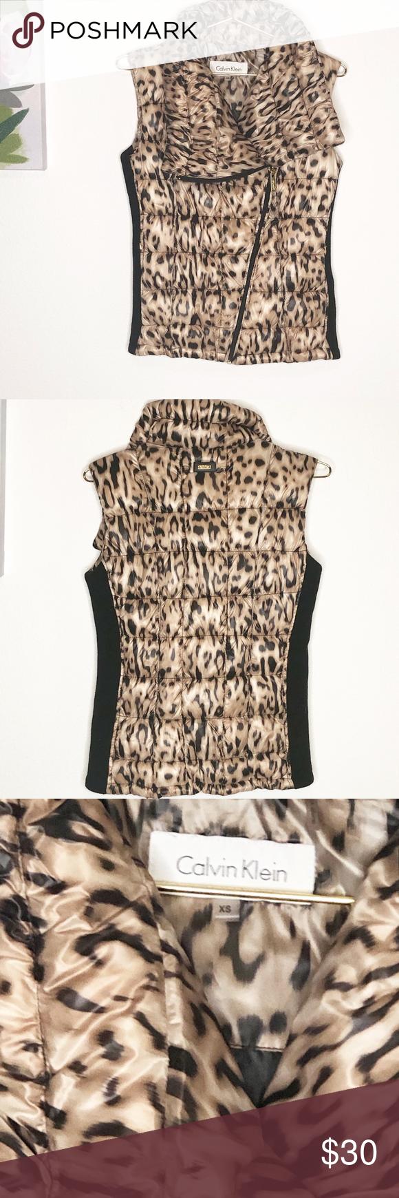 Calvin klein leopard puff vest xs in my posh closet