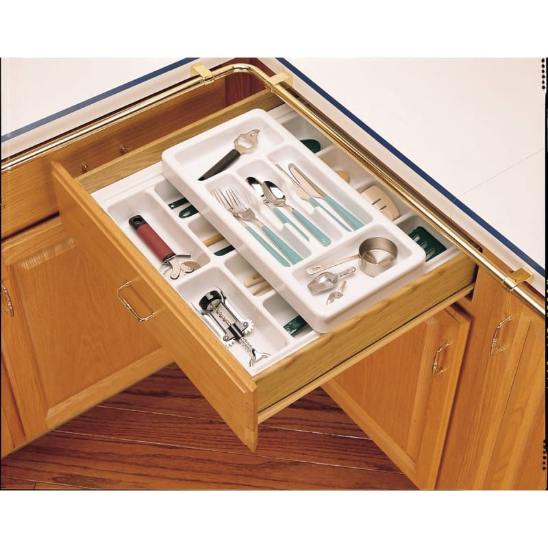 Rev A Shelf Rt18 4h Rt Series 17 75 Inch Wide Half Deep Cutlery Tray With Top Ro Glossy White Drawer Organizers Cutlery Organ Rev A Shelf Shelves Home Kitchens