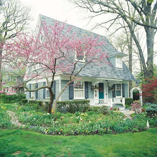 Cute cottage in spring.