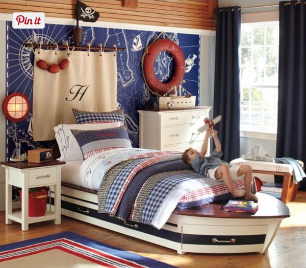 Pottery Barn Kids Speedboat Trundle Bed Full Size For Sale In Lehigh Acres Fl In 2020 Nautical Bedroom Kids Bedroom Pirate Bedroom