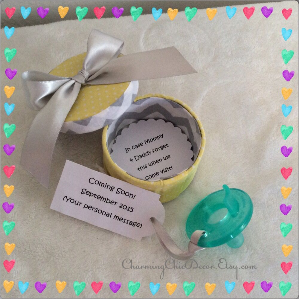 Cute Binkie Box Pregnancy Announcement This adorable sweet gift – Baby Announcement for Grandparents