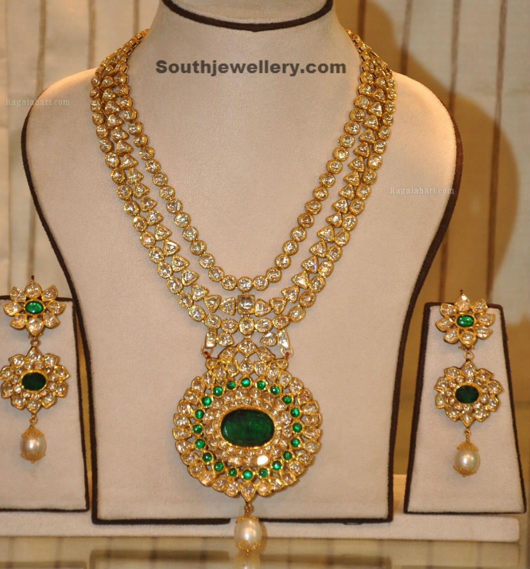 Kundan Long Chain Latest Jewellery Designs Golden