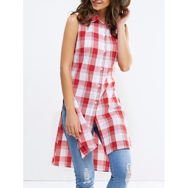 8.63$  Buy here - http://di92v.justgood.pw/go.php?t=183298304 - Fashionable Shirt Collar Broadside Slit Sleeveless Lattice Shirt For Woman