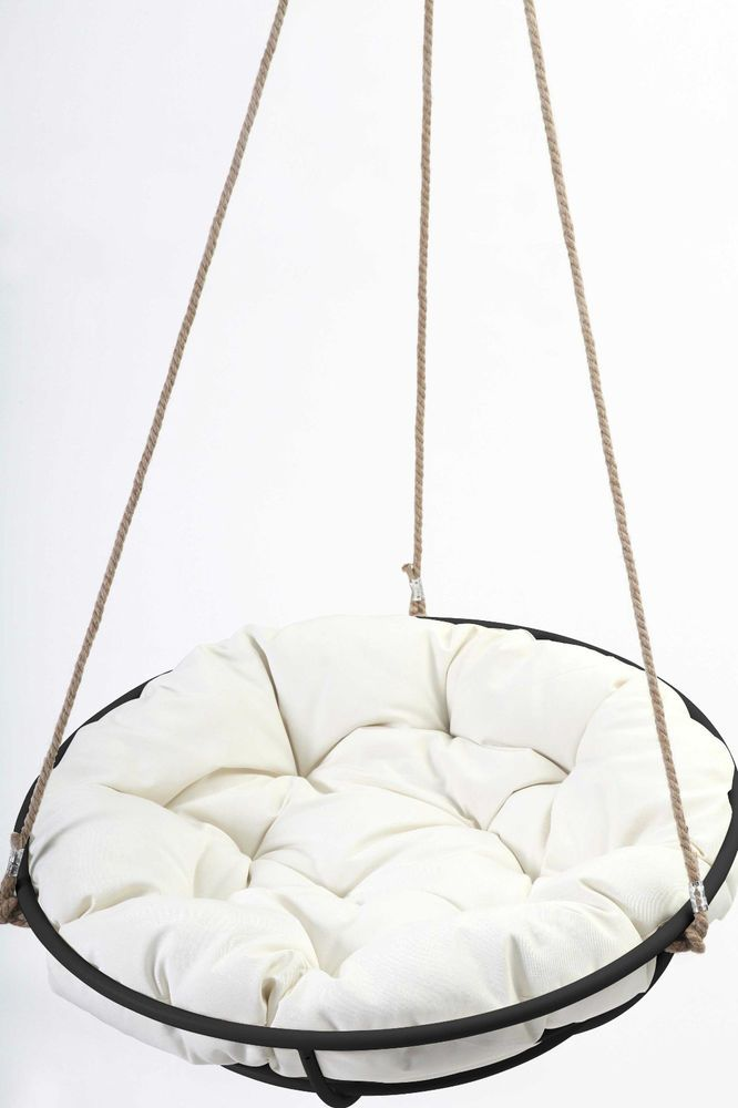 Wonderful Papasan Hangasan Chair Sit/Swing Black/White Free Hanging Kit Free Sydney PU