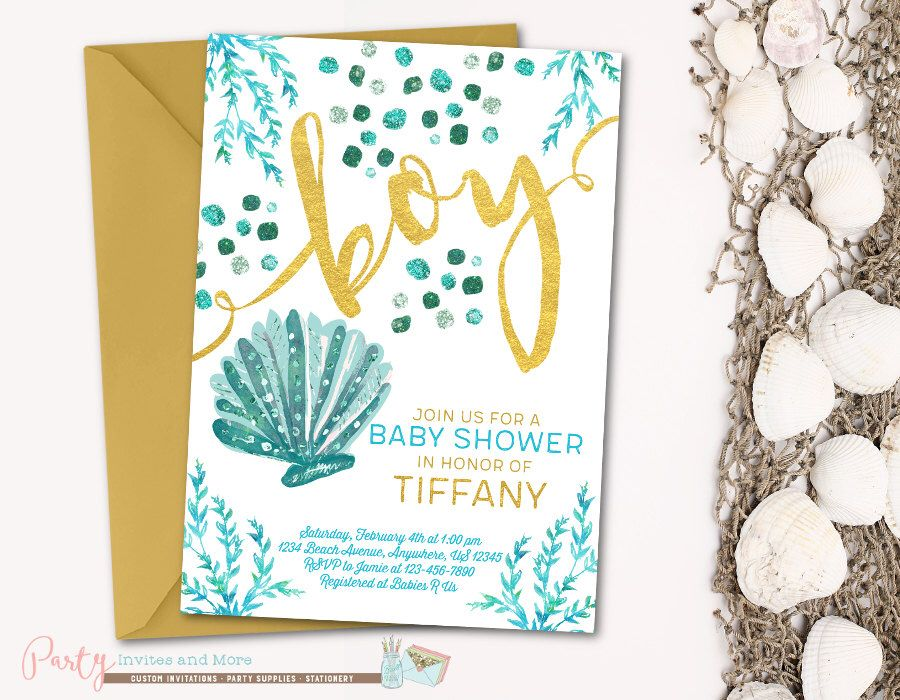 Under the Sea Baby Shower Invitation, Beach Baby Shower Invitation ...