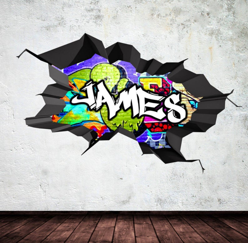 Personalised Any Name Grafitti Wall Decal 3D Art Stickers Vinyl Room Bedroom 6