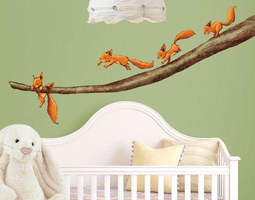 Babyzimmer Wandsticker ~ Wandtattoo wald babyzimmer einhörnchen halt dich fest für