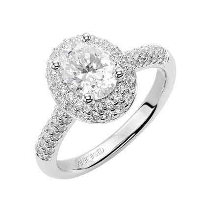 48a6e193eeb6d Artcarved Bridal: BETSY, 31-V378, oval diamond engagement ring with ...