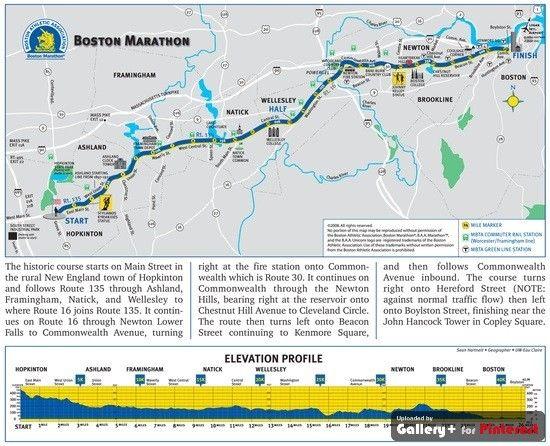 Boston Marathon Boston Marathon Boston Marathon Map Marathon