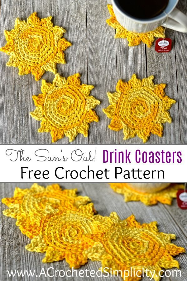 The Sun\'s Out! Crochet Drink Coasters | Strickideen, Häkelmuster und ...