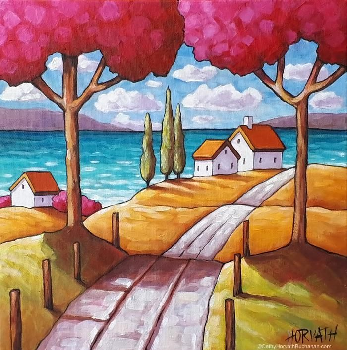 Beach Road Trees Framed Original Painting, Folk Art