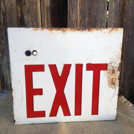 Rustic Masculine Bedroom Ideas: Industrial Salvage Rustic Old Metal Exit Sign