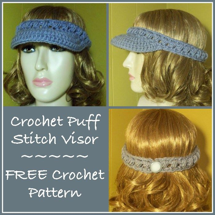 Crochet Puff Stitch Visor - Free Crochet Pattern | Crochet ...