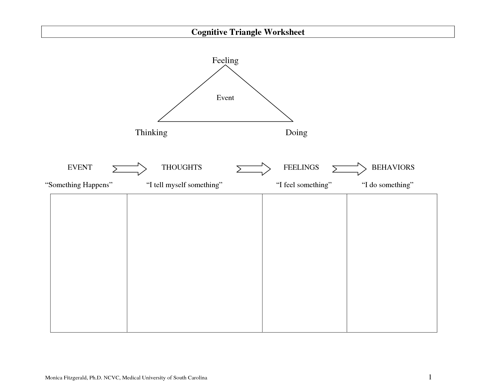 Full Size Printable Feelings Worksheets Cognitive Triangle