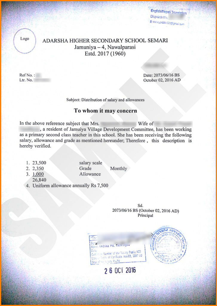 School Teacher Salary Certificate Format Pdf