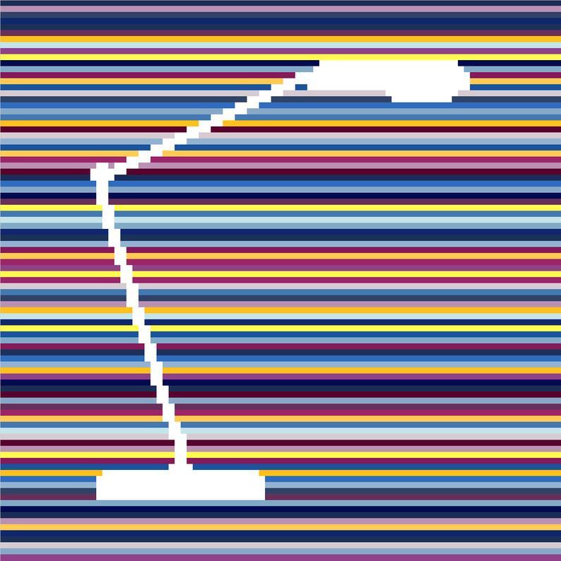 Modern cross stitch pattern of an anglepoise lamp