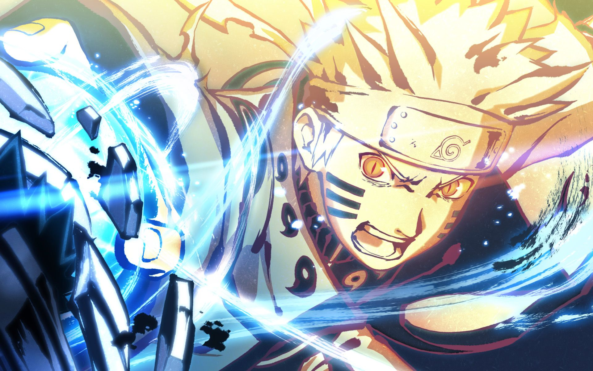 foto de Naruto Uzumaki, blue neon lights, battle, manga, artwork, Naruto ...