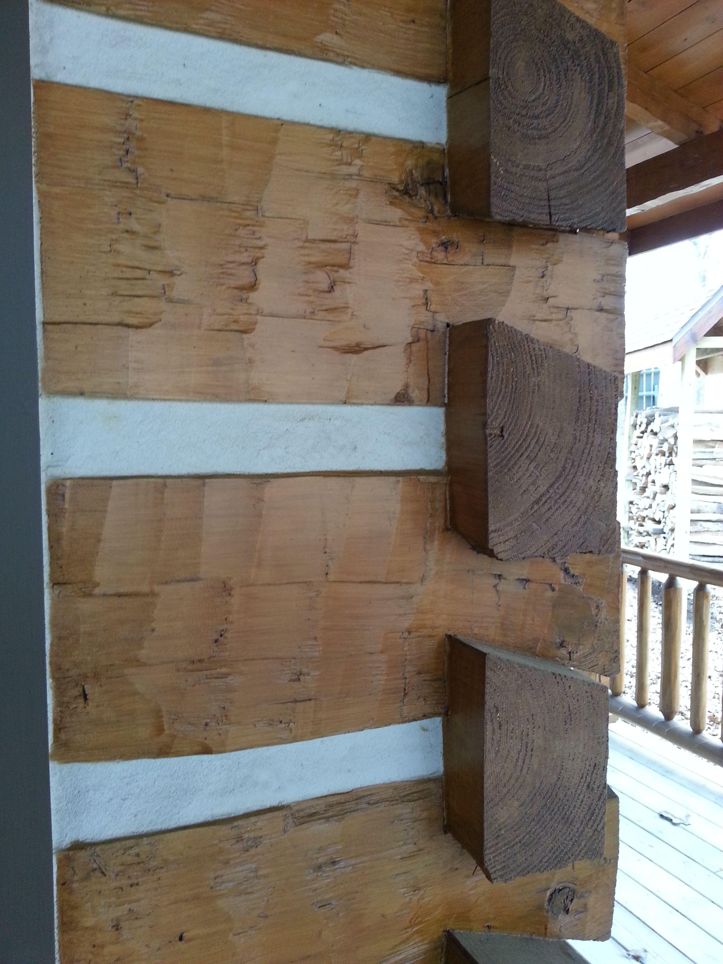 3x8 log siding hand hewn pine - Hand Hewn Log Corner With Chink Groove Chinking Added