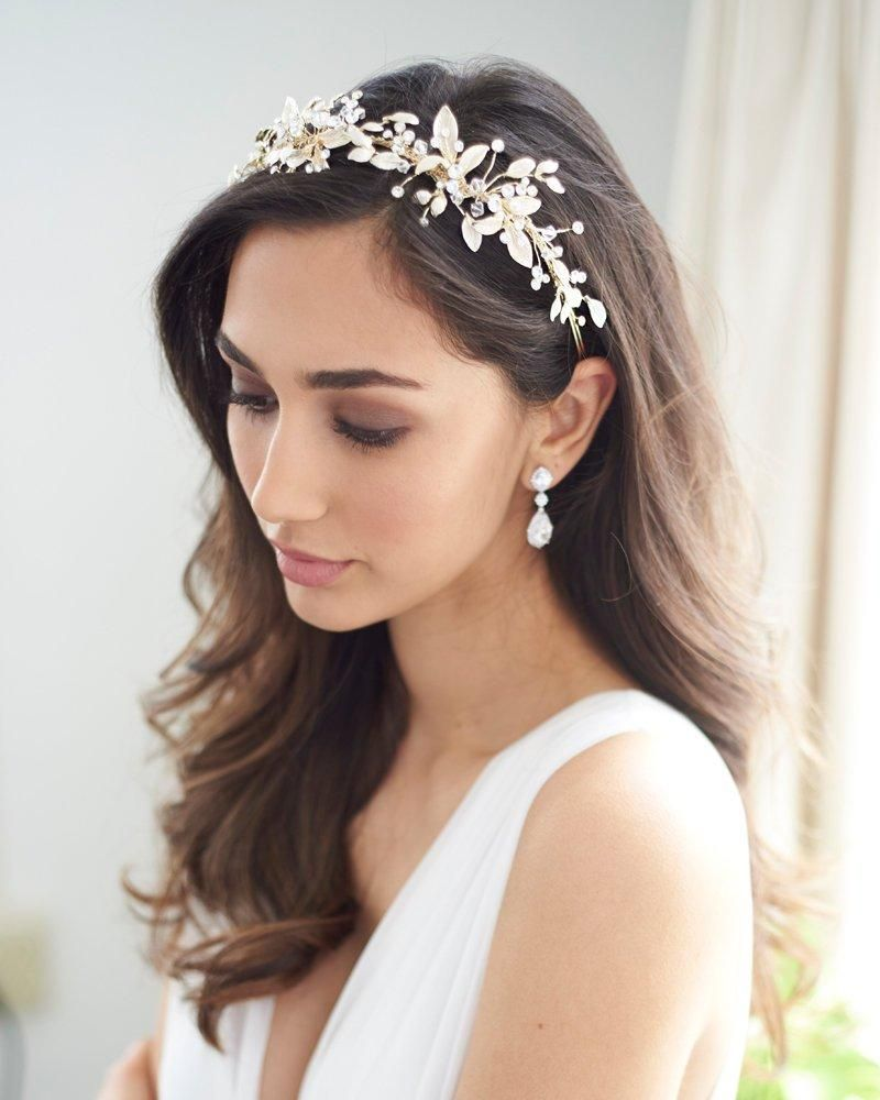 Wedding Hairstyle Headband 2019 Botanical Crystal Floral Headband Wedding Rhinestone Headband Hairstyles Medium Hair Styles Long Hair Styles