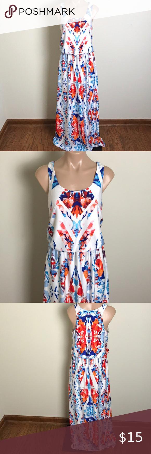Cato Watercolor Maxi Dress Tank Top Blue Orange Tank Dress Top Maxi Dresses Dresses [ 1740 x 580 Pixel ]