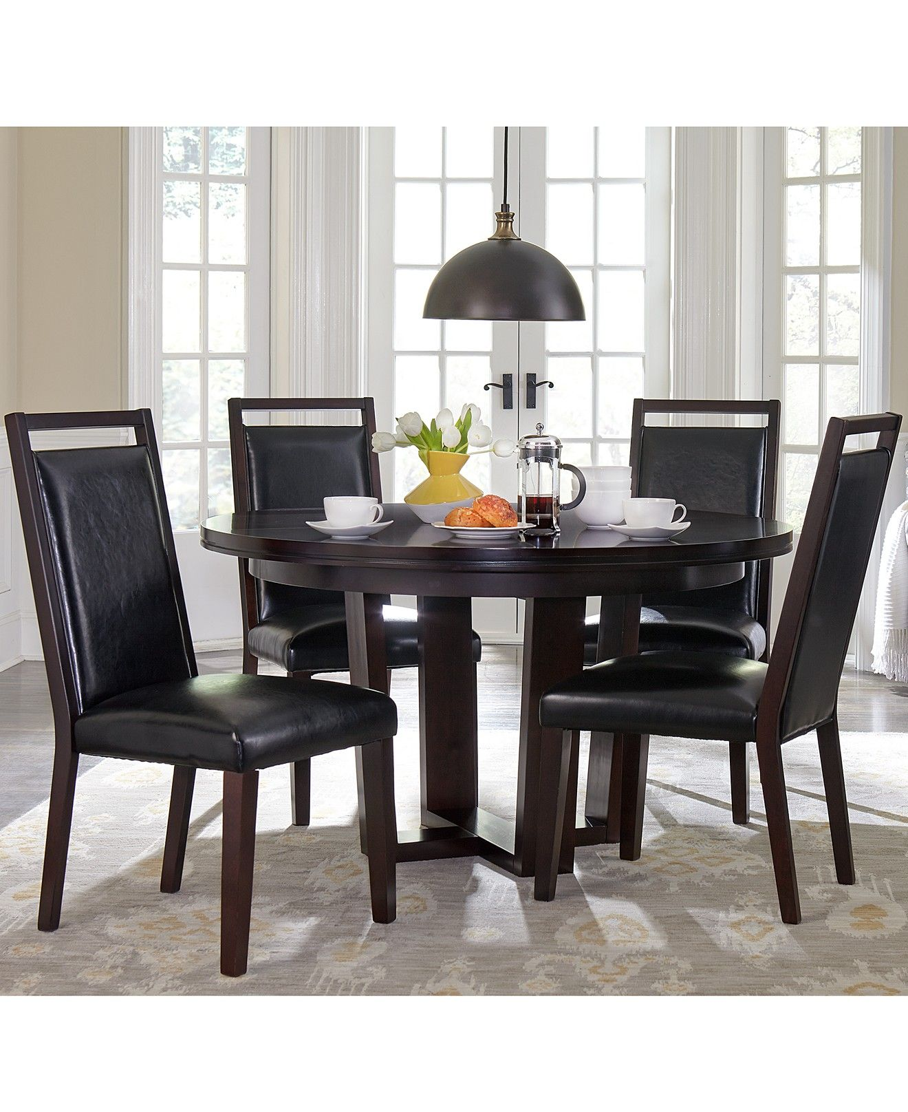 Belaire Round Dining Black Furniture Collection Dining Room