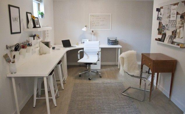 Kristina Lynneu0027s use of Ikea Linnmon corner desk + table tops- she - best of world map glass desk ikea