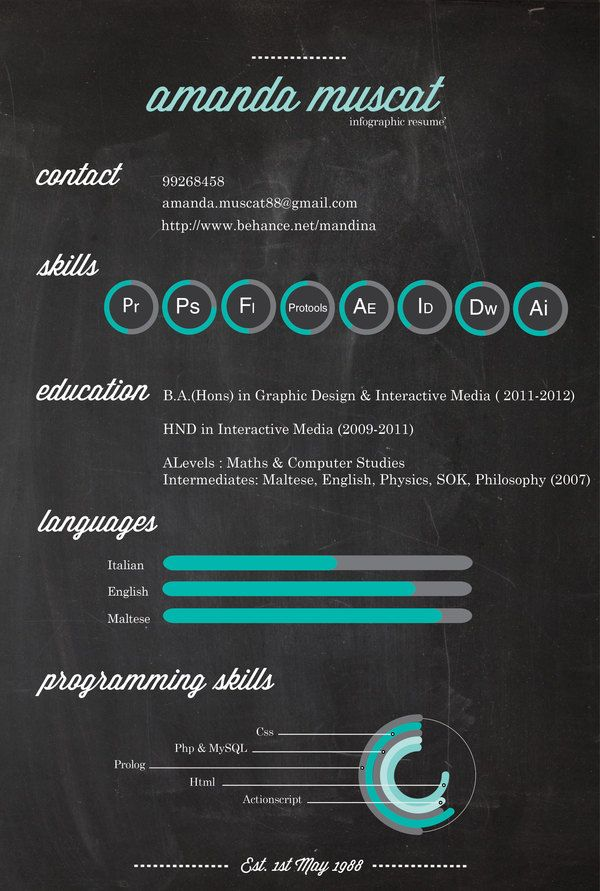 infographic resume by Amanda Muscat, via Behance Infographic - visual cv resume