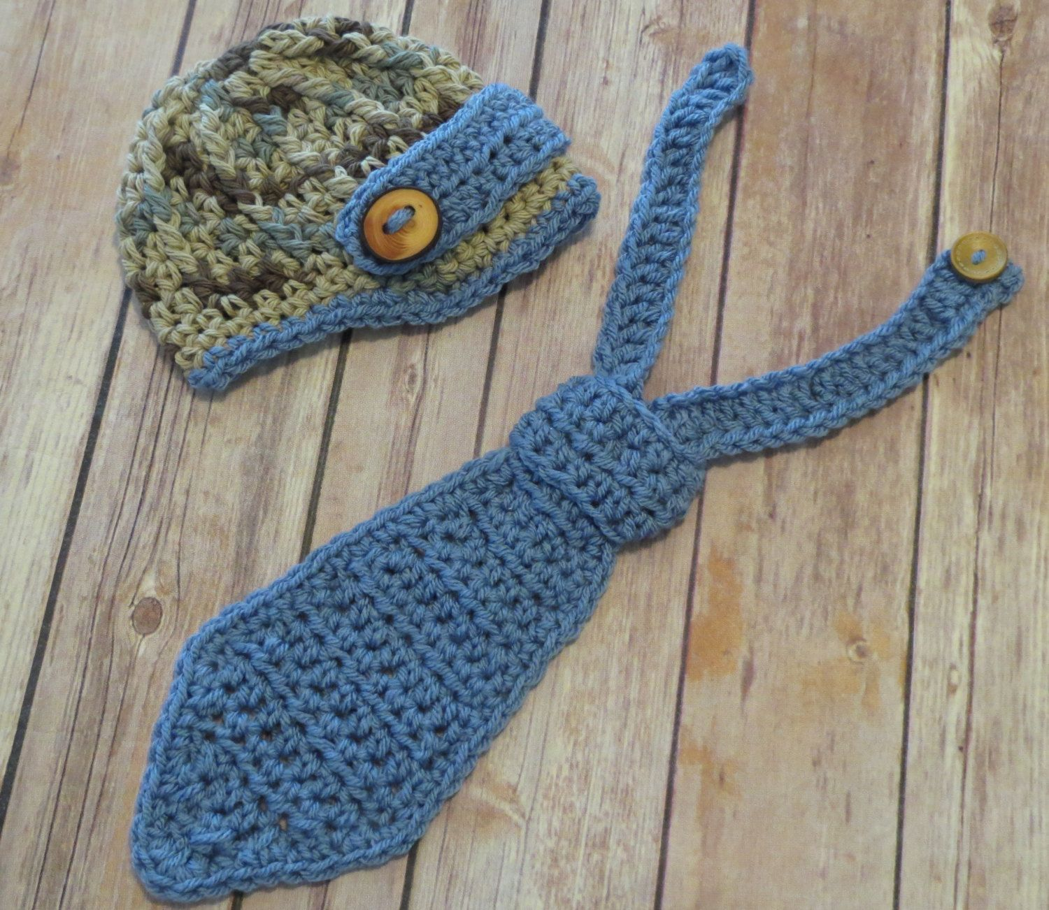 On Sale! Ready to Ship Sz. 0-3 month NEWSBOY Hat & Tie, NEWBORN Photo Props, Shower Gift, brown w/blue necktie and hat, bringing home baby by kimcrochetcreations on Etsy