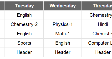 How To Create Time Table Using Html And Css Create A Weekly Timetable Using Css And Html Time Table In Html Using Table Css Week Sport English
