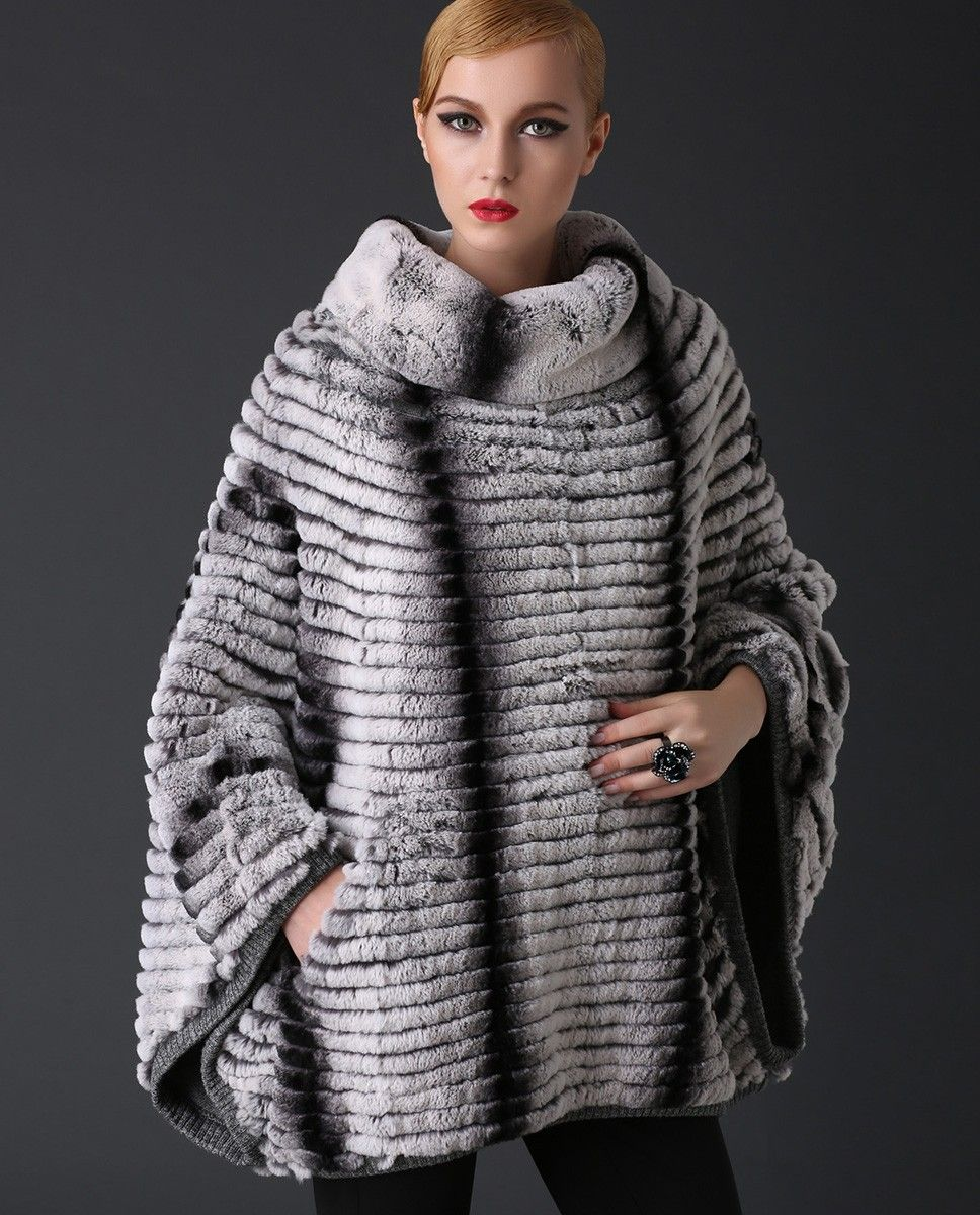 REX RABBIT FUR PULLOVER JACKET, BATWING PONCHO Rex Rabbit fur ...