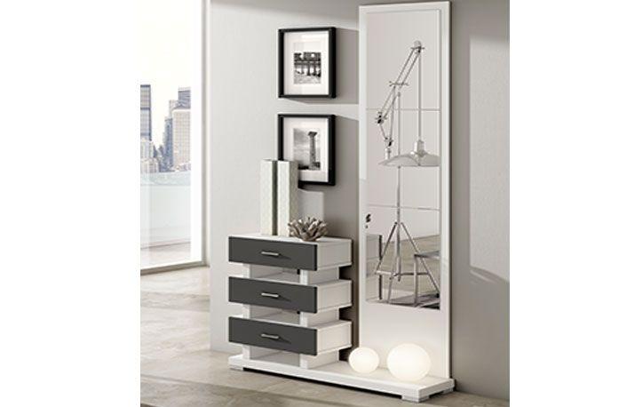 Mueble recibidor moderno con espejo y cajones, ideal la entrada de ...